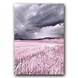 Pink Purple Landscape Poster Beach Snow Mountain Feather Life Beautiful Home Wall Art Decoration Canvas Painting Picture 30x40cm