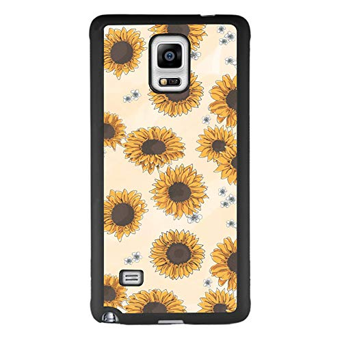 Samsung case for Samsung Galaxy Note 4 case Sunflower Print Slim Soft and Hard Tire Shockproof Protective Phone Cover Case Slim Hybrid Shockproof Protective Case Anti-Scratch Cushion Bumper with Reinf
