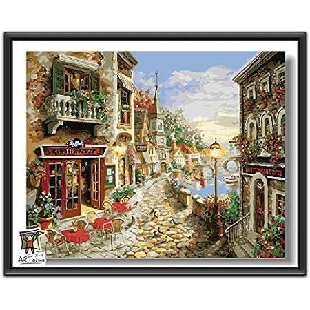 ARTomo【アトモ】パズル油絵『フレーム付き』数字 油画 DIY 塗り絵 本格的な油絵が誰でも簡単に楽しく描ける 40x50cm (朝の小さな町)