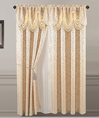 All American Collection New 2 Panel Jacquard-Like Polyester Curtain with Attached Valance and Sheer Backing (Gold)
