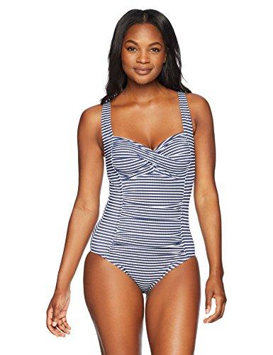 Amazon Brand - Coastal Blue Women's One Piece Swimsuit, New Navy/White Stripe, S