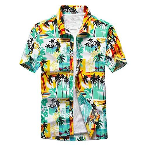 SFYZY Hawaiihemd Herren 3D Drucken Lässig Button Down Strandurlaub Hemd Kurzarm Hawaii Hemd Standard-fit Short-Sleeve Hawaiian Shirt,CS-6,XL