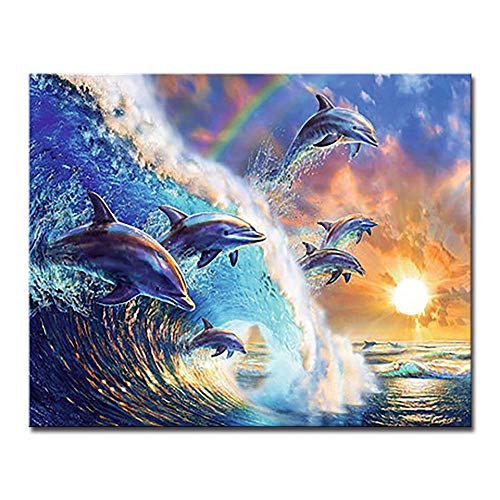 ZHXX Schilderij door cijfers voor volwassenen op Canvas 40X50Cm Dolfijn Zonsondergang DIY Tekenen Sea Wave Seascape Olie Afbeeldingen Muur Kunst Kleurplaten Handgeschilderd Op Canvas Home Decor Without Frame