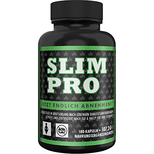 SLIM PRO Appetitzügler + Burner Doppeleffekt mit WIRKNACHWEIS für Abnehmen + Diät Stoffwechsel Kur + Appetithemmer, 180 Kapseln
