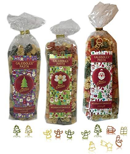 """3er-Set Christmas Pasta: 1 x 250 g """"Weihnachtsmix"""" & 1 x 250 g """"Engel"""" & 1 x 250 g """"Weihnachtsbaum"""" (Gesamt 3 x 250 g) - Nudeln bunt – Weihnachtsnudeln"""