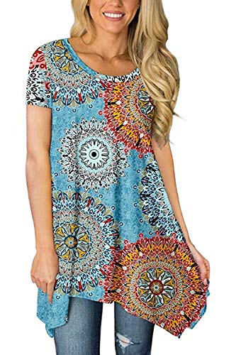 Damen Sommer Tops Kurzarm Tunika Casual Rundhals Einfarbig T-Shirt Bluse Asymmetrisch Longshirt Oberteile