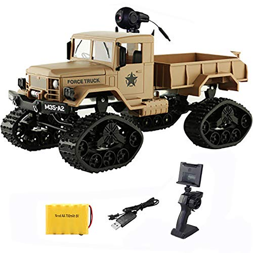 tyuiop Coche de Control Remoto 4WD, Buggy de Escalada Camión Militar RC de Simulación con Cámara WiFi, Carga Alrededor de 3 Kg, 338x135x147mm