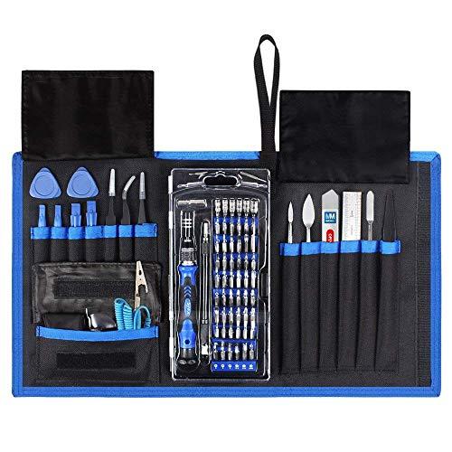 MMOBIEL Magnetisch Schraubendreher Reparatur Werkzeug 80 in 1 mit 56 Bits Flexibler Schaft für technische Geräte in Tasche