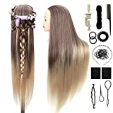 PracticeMannequinHead withHair 30 inches DollHeadsforCosmetologyBraiding Training Head 100% Synthetic Fiber Long HairDollHeadStyling ORGUJA HairdressingHead with Clamp and Braid Set