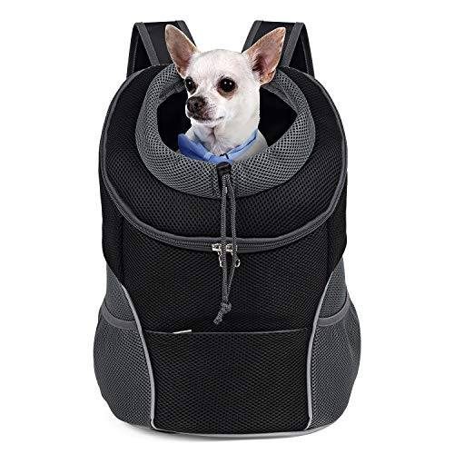 WOYYHO Pet Dog Carrier Backpack Puppy Dog Travel Carrier Front Pack Breathable Head-Out Backpack Carrier for Small Dogs Cats Rabbits(L(up to 15 lbs),...