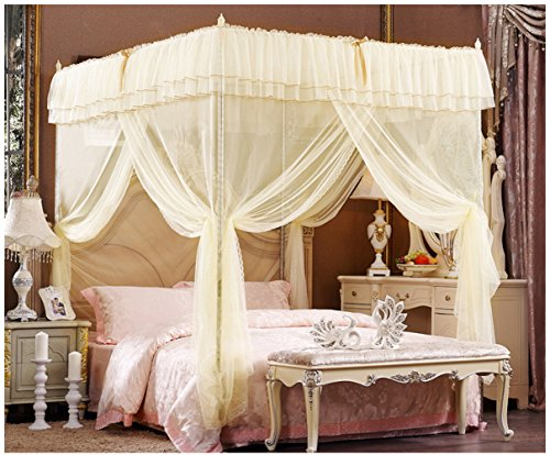 Beige Lace Luxury Four Corner Square Princess Bed Canopy, 72'x 86'x 82' (California King)