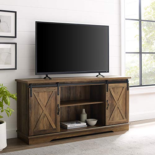 Home Accent Furnishings New 58 Inch Sliding Barn Door Television Stand - Rustic Oak Finish