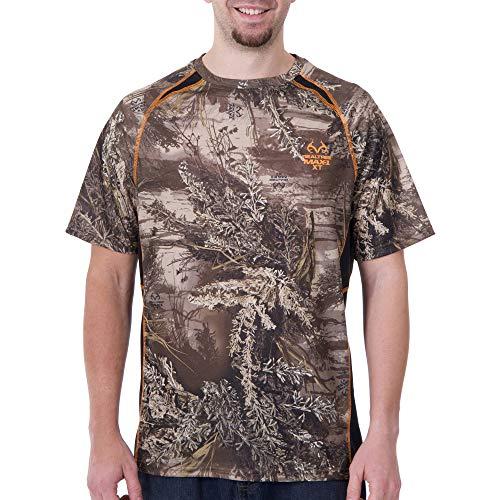 Realtree Mens Short Sleeve Colorblock Performance Camo Shirt, X-Large