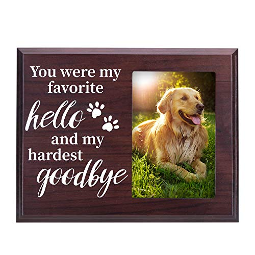 Dog Memorial Gifts, Paw Prints Remembrance Picture Frame for Pet Loss - You were My Favorite Hello and My Hardest Goodbye - for 4x6 Inches Photo