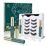 Magnetic Lashes, Lorchar Magnetic Eyelashes, 5 Pairs Magnetic Eyelashes with Eyeliner, 3D Eyelashes Natural Look with 2 Tubes of Waterproof Magnetic Eyeliner, Reusable False Eyelashes(5 Pairs)