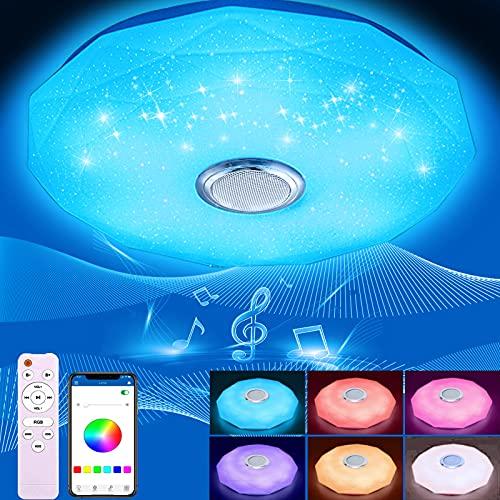 BLAIKOYI LED Deckenleuchte Dimmbar mit Bluetooth Lautsprecher, LED Deckenlampe mit Fernbedienung oder APP-Steuerung, RGB Farbwechsel, Musikwiedergabe für Schlafzimmer Badezimmer Wohnzimmer