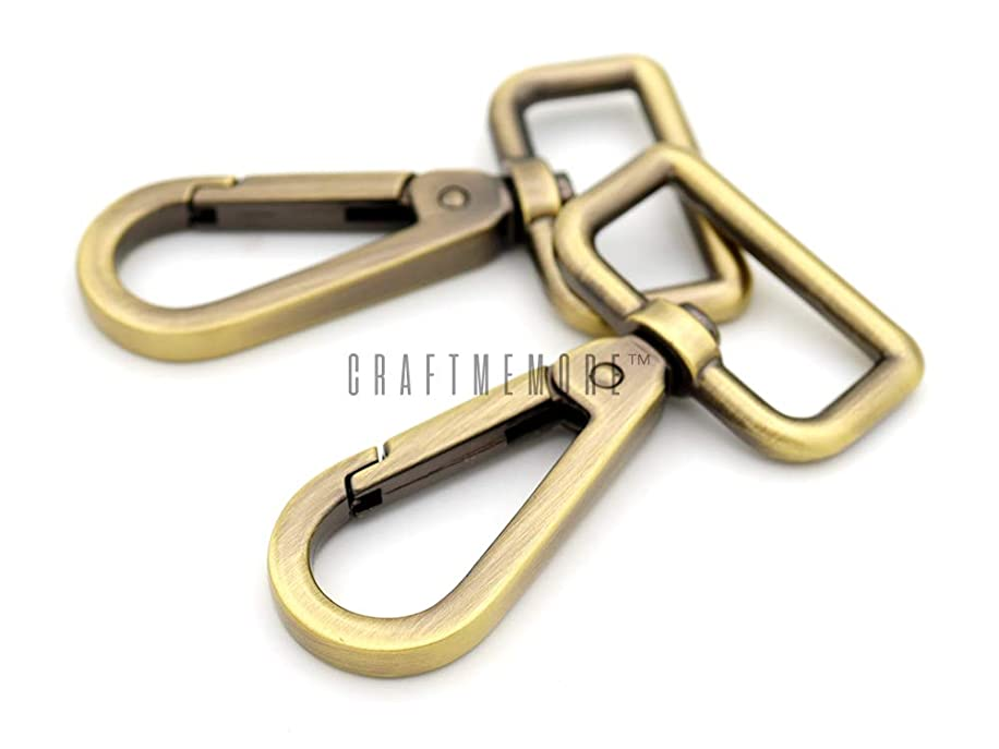 CRAFTMEmore 2PCS 1 Inch Push Gate Snap Hooks Metal Swivel Lobster Claw Clasp Purse Hardware (Antique Brass)