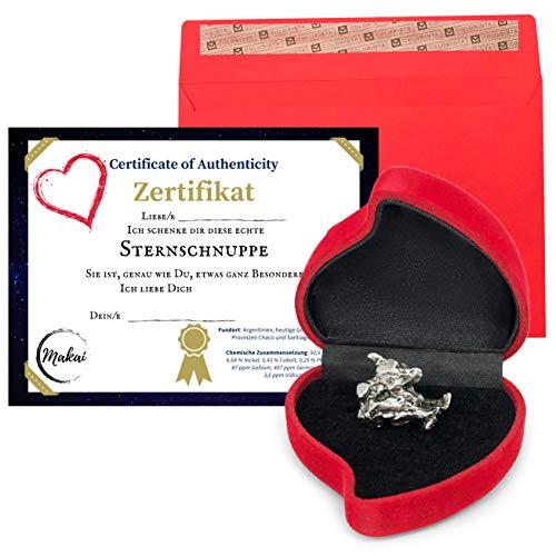 Makai echter Meteorit ca. 15 Gramm Sternschnuppe mit Echtheits-Zertifikat Geschenkkarte Herzbox individuelle personalisierbare Karte mit Widmung (Echtheitszertifikat)