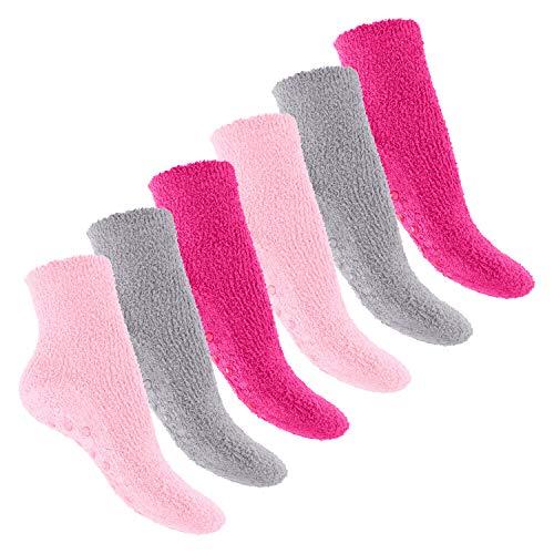 Footstar Damen & Herren Plüschsocken (6 Paar), Warme Kuschel Socken - Pink Carnation 39-42
