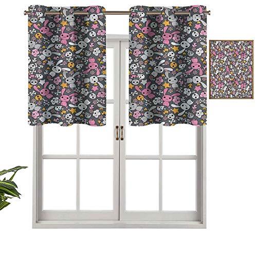 Hiiiman Cenefa de cortina para ventana de privacidad interior Kawai Conejitos nubes, juego de 1, 127 x 45 cm para puerta corredera de patio o comedor