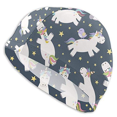 Elxf Badekappe Cute Bird Uniocrn Badekappen für Männer und Frauen sind auch für Jungen und Mädchen geeignet.