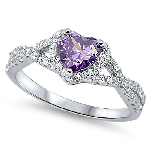 Sterling Silver Heart Halo Simulated Gemstone Promise Ring (8, Purple (Simulated Amethyst)
