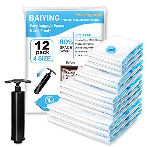 BAIYING Vacuum Storage Bags, 12 Pcs 4 Size Space Saving Storage Bag For Travel Clothes, Bedding and Duvets (up to 80% Compression) Premium Reusable PA+PE Upgrade Double Zip Seal Space Bag
