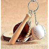 キーホルダー 野球 グローブ バット スポーツ シリーズ デザインパッケージ袋入り キーチェーン キーリング チャーム アクセサリー 手作り キーホルダーにしたりプレゼントや大会の景品などにも (ブラウン)