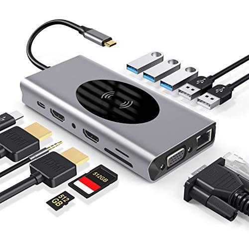 PTN 14 in 1 Hub USB Adattatore Dongle Tipo C con Caricabatterie Wireless, Adattatore USB C con Uscita HDMI 4K * 2, Ethernet RJ45, Caricatore PD 87W, Lettore di Schede SD/TF con Porte USB 3.0 VGA