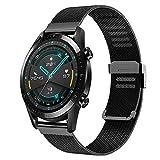 Kobmand Correas Compatible con Huawei Watch GT 2 46MM, pulsera de malla metálica para GT 2 46mm / Watch GT 46mm / Watch GT Active / Watch 2 Pro / Honor Watch Magic (Negro)