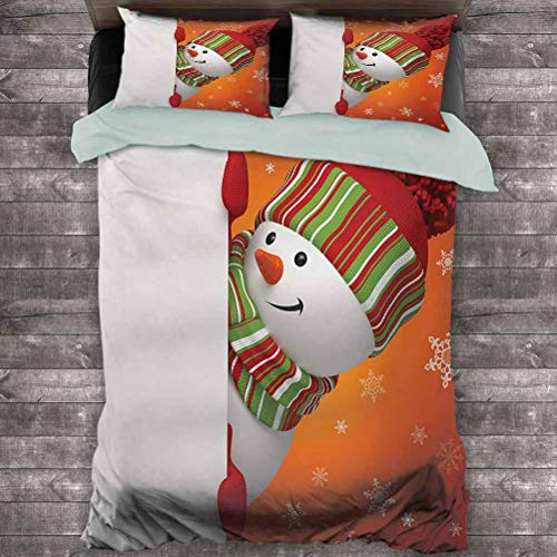 Luoiaax Christmas Hotel Luxury Bed Linen Cute Snowman with Mittens and Hat and Scarf New Year Celebration Festive Design Polyester - Soft and Breathable (Full) White Orange