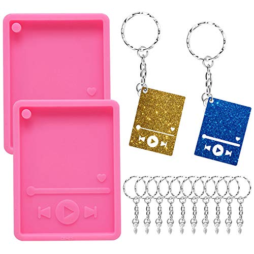 22pcs Resin Media Player Keychain Mold, 2pcs MP3 Music Player Shaped Epoxy Resin Keychain Casting Mold with 20pcs Silver Key Rings with Chains for Polymer Clay DIY Jewelry Making and Baking Crafts