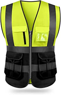 Safety Vest, KKmoon SFVest High Visibility Reflective Safety Vest Reflective Vest Multi Pockets Workwear Security Working ...