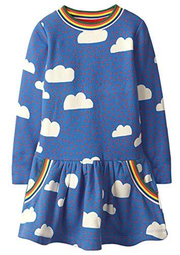 Bevalsa Mädchen Schönes Kleid Langarm Baumwolle Weihnachten Kleider Frühling Herbst Winter Gepunktete Prinzessin Lama T-Shirt Kleid Gr.80-140