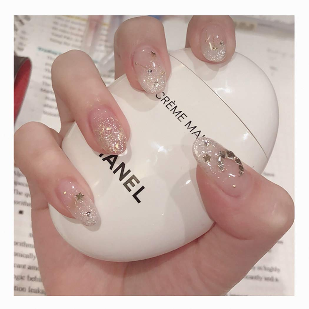 Kakaco 24Pcs OFFicial site Glitter Sequins Fake Nails Lucency Tips Cover wholesale Full