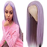 Maycaur Lace Front Wigs Long Straight Hair Purple Color Wigs for Fahison Women Light Purple Synthetic Lace Front Wigs with Natural Baby Hair 22 Inch