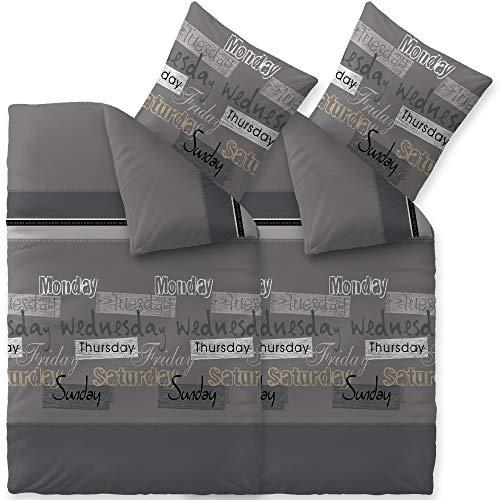 CelinaTex Touchme Biber Bettwäsche 135 x 200 cm 4teilig Baumwolle Bettbezug Carla grau anthrazit schwarz