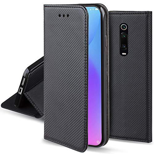 Moozy Hülle Flip Hülle für Xiaomi Mi 9T, Mi 9T Pro, Redmi K20, Schwarz - Dünne Magnetische Klapphülle Handyhülle mit Kartenfach & Standfunktion