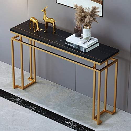 YaGFeng Console Table Modern And Simple Golden Iron Art Rock Porch Table Living Room Corridor Porch Table Suitable for Bedroom Balcony (Color : Black, Size : 100x80x30cm)