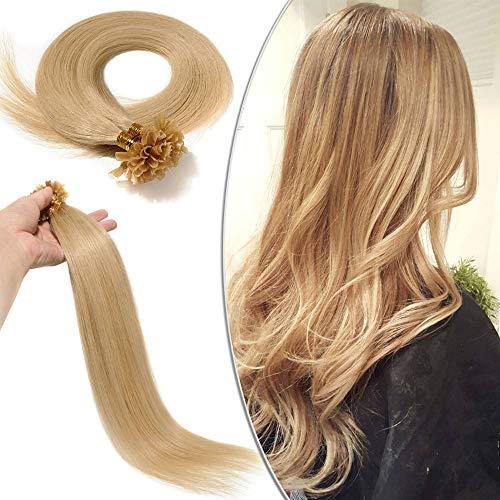 Extension Capelli Veri Cheratina 100 Ciocche - 45cm #24 Biondo Chiaro - 100% Remy Human Hair Pre Bonded U Tip Nail Hair Capelli Naturali Lisci 0.5g/fascia