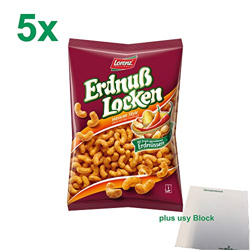 Lorenz Erdnuss-Locken Mexican Style Gastropack (5x200g Beutel) + usy Block