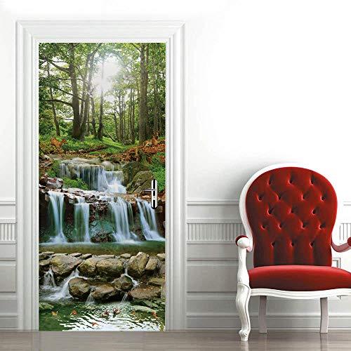 Etiqueta de La Puerta 3D Agua del bosque PVC Etiqueta de La Pared para la Decoración del Hogar Plantilla de la Pared para la Sala de Estar Dormitorio Cocina Fondo