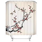 Duschvorhang Pfirsichblüte Blumen Duschvorhang Kurz Duschvorhänge und Zubehör Polyester Stoff Duschvorhang 120X200 cm Mit 12 Duschvorhang Ringe