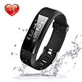 Movaty Fitness Tracker HR, ID115 Plus Smart Bracelet, Waterproof Sports Fitness IP67, cardiofréquencemètre, podomètre, Calorie Counter, SMS Rappel appels, Bluetooth 4,0, Android iPhone