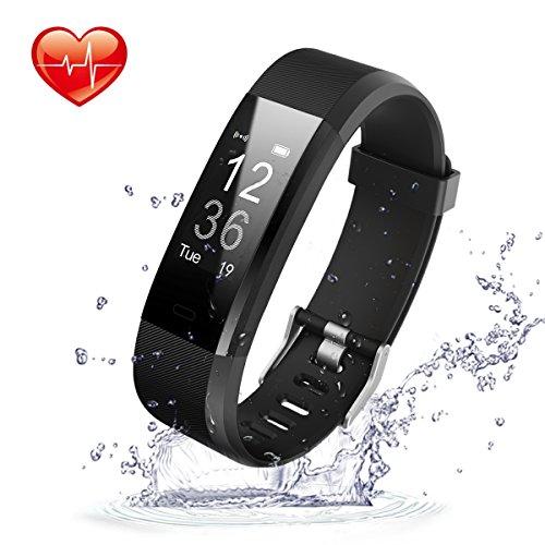 Movaty Fitness Tracker HR, ID115 Plus Smart Bracciale, Impermeabile Sport Fitness IP67,Cardiofrequenzimetro,Pedometro,Calorie Counter,chiamate SMS promemoria,Bluetooth 4.0,iPhone Android Smartphone