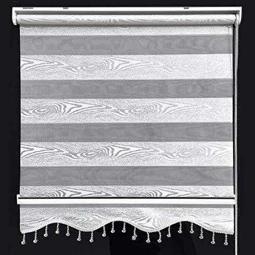Doppelrollo Duorollo Zebrarollo Fenster Tür Rollo Klemmfix Weiß Silber Holz Design Gardinen 90 x 200 cm