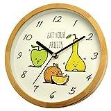 Holzwerk Germany Horloge murale écologique pour enfant garçon et fille avec fruits, pomme, orange, motif poire, en bois, mouvement silencieux, sans tic-tac silencieux, 21,7 cm de diamètre
