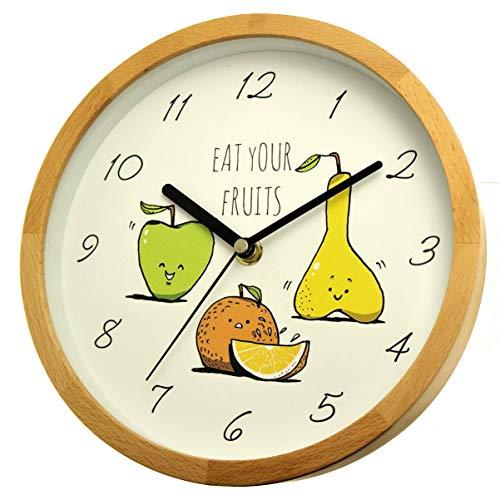 Holzwerk Germany - Orologio da Parete per Bambini, con Motivo a Pera con Frutta e Mela, in Legno, Senza ticchettio, Silenzioso, 21,7 cm di Diametro