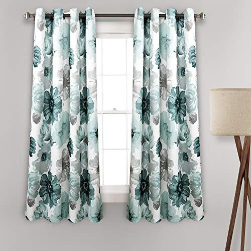 "Lush Decor Room Darkening Window Curtain Panel Pair Leah Floral Insulated Grommet, 63"" L, Blue"