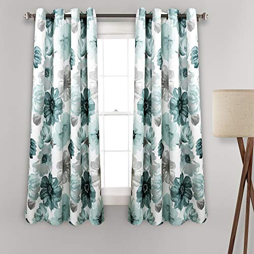 """Lush Decor Blue Leah Floral Room Darkening Window Panel Curtain Set for Living, Dining, Bedroom (Pair), 63"""" x 52 L"""